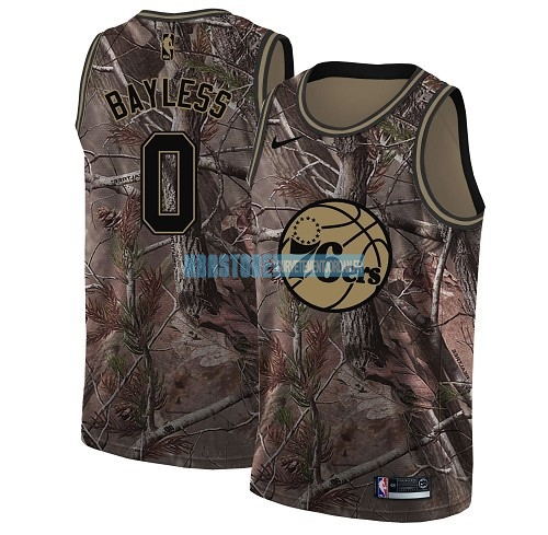 Maillot NBA Philadelphia Sixers NO.0 Jerryd Bayless Camo Swingman Collection Realtree 2018 Qualité 100%