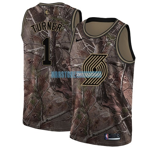Maillot NBA Portland Trail Blazers NO.1 Evan Turner Camo Swingman Collection Realtree 2018 Qualité 100%