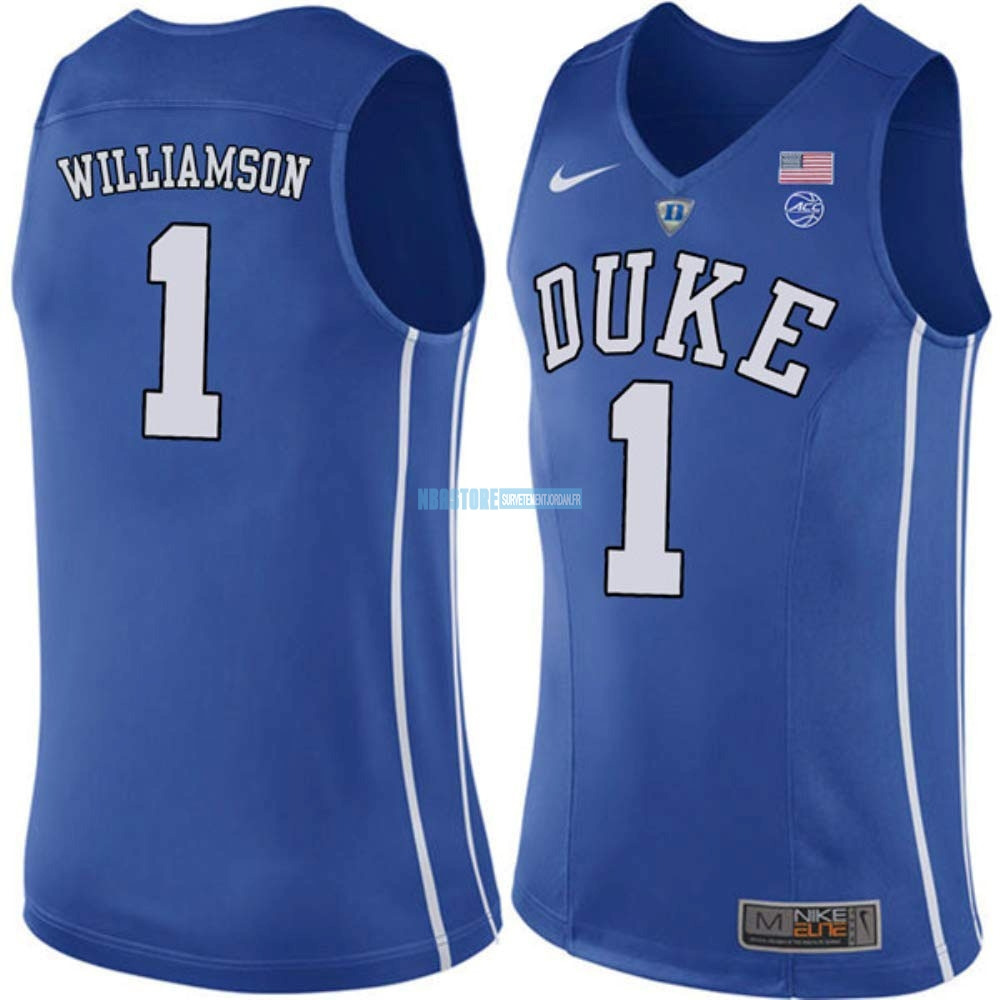 Maillot NCAA Duke NO.1 Zion Williamson Bleu Qualité 100%