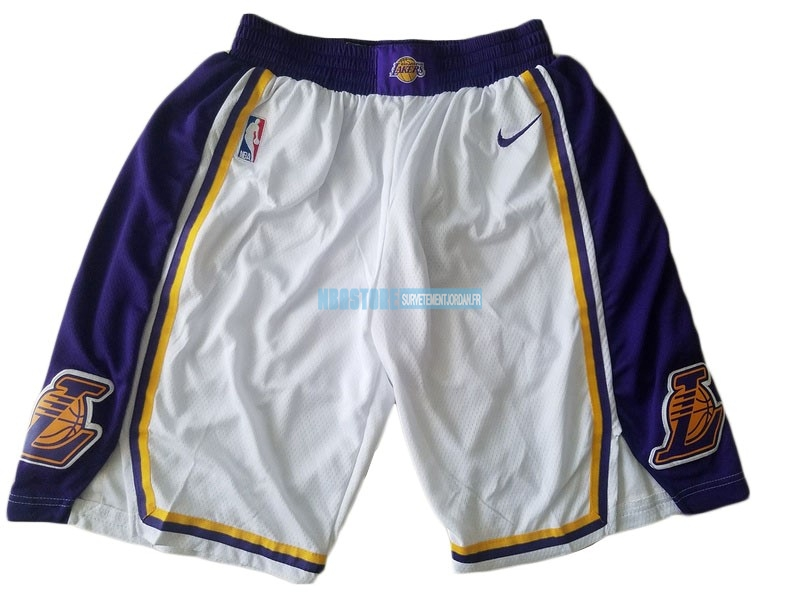 Short Basket Los Angeles Lakers Nike Blanc 2018-19 Qualité 100%