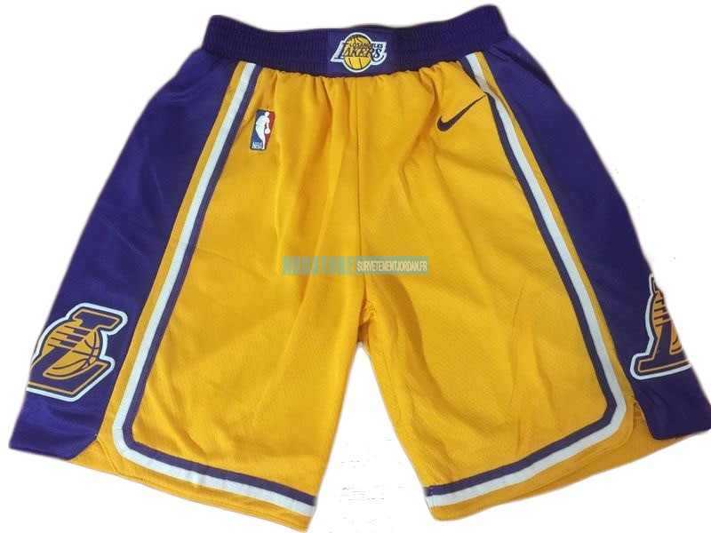Short Basket Los Angeles Lakers Nike Jaune 2018-19 Qualité 100%