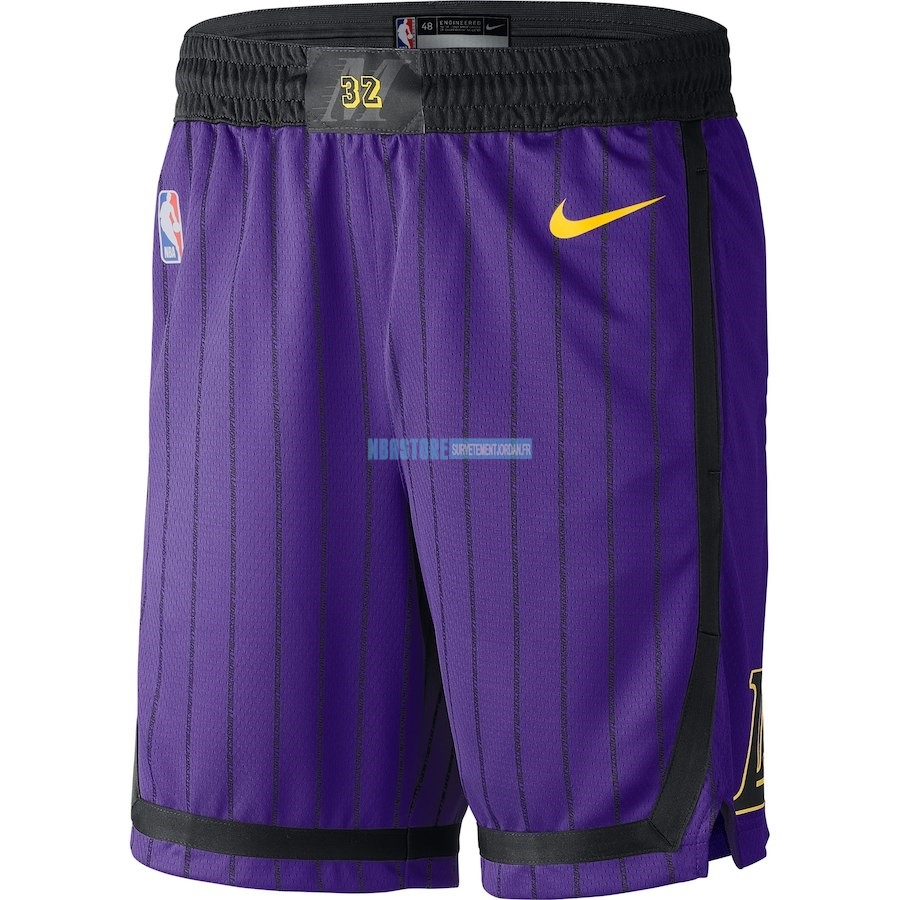 Short Basket Los Angeles Lakers Nike Pourpre Ville 2018-19 Qualité 100%