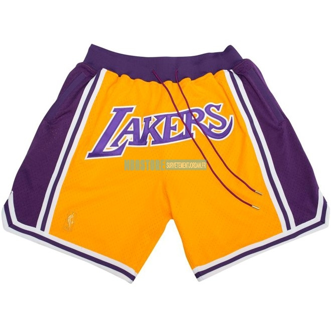 Short Basket Los Angeles Lakers Nike Retro Jaune 2018 Qualité 100%
