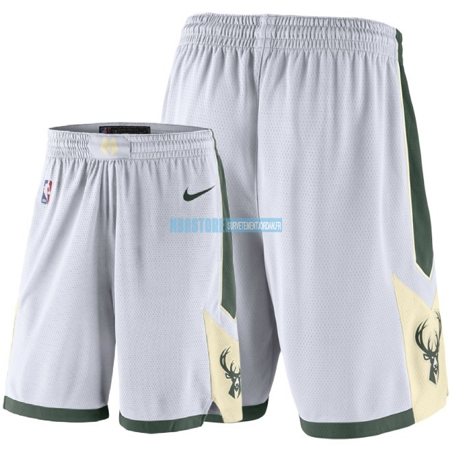 Short Basket Milwaukee Bucks Nike Blanc 2018 Qualité 100%