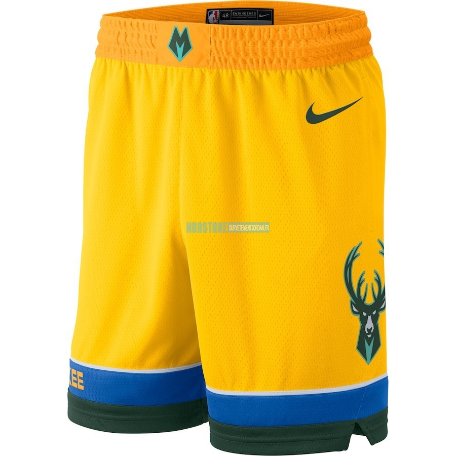 Short Basket Milwaukee Bucks Nike Jaune Ville 2018-19 Qualité 100%