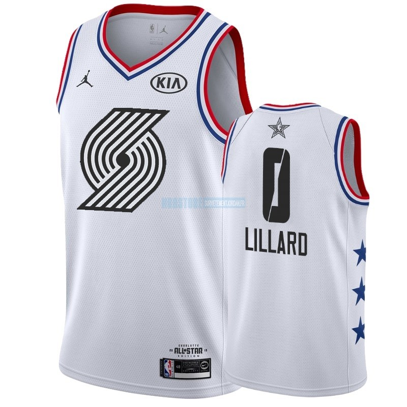 Maillot NBA 2019 All Star NO.0 Damian Lillard Blanc Qualité 100%