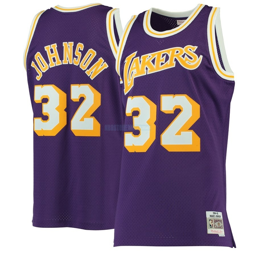 Maillot NBA Los Angeles Lakers NO.32 Magic Johnson Pourpre Hardwood Classics 1984-85