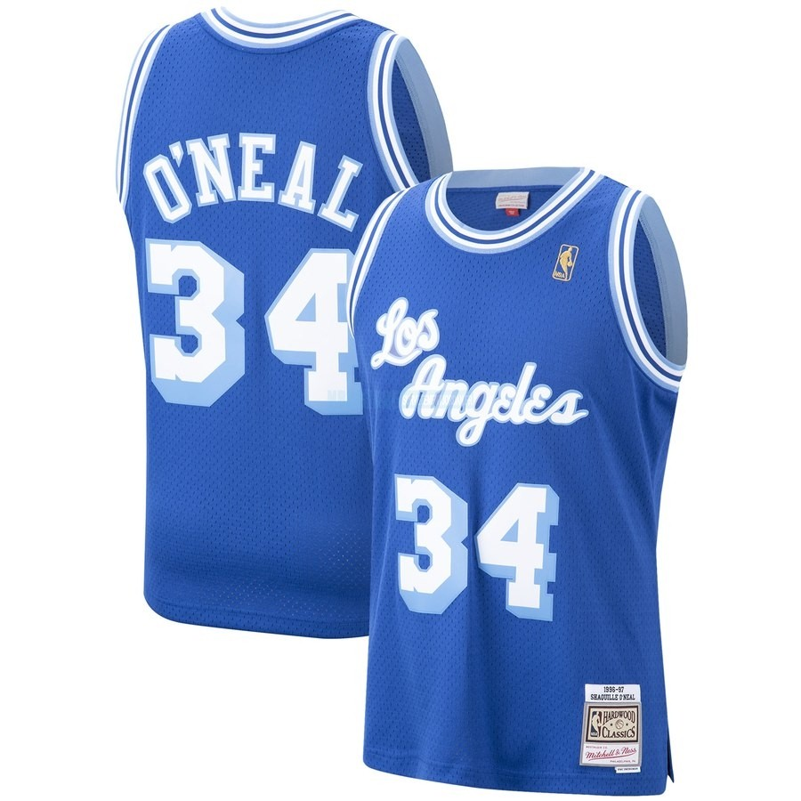 Maillot NBA Los Angeles Lakers NO.34 Shaquille O'Neal Bleu Hardwood Classics 1996-97