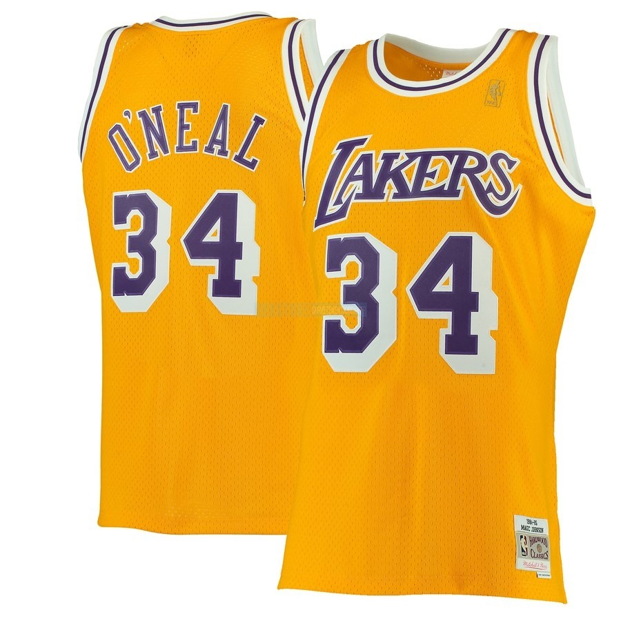 Maillot NBA Los Angeles Lakers NO.34 Shaquille O'Neal Jaune Hardwood Classics 1996-97