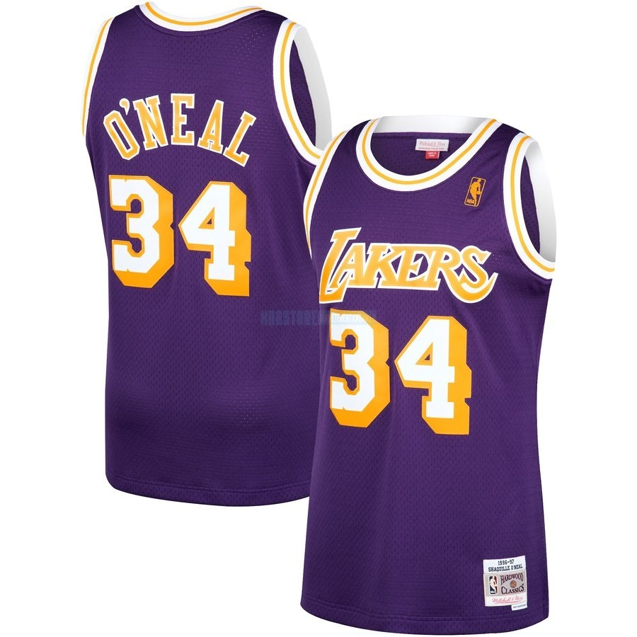 Maillot NBA Los Angeles Lakers NO.34 Shaquille O'Neal Pourpre Hardwood Classics 1996-97
