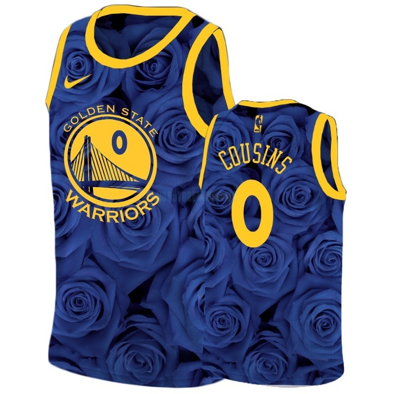 Maillot NBA Nike Golden State Warriors NO.0 Demarcus Cousins Marine