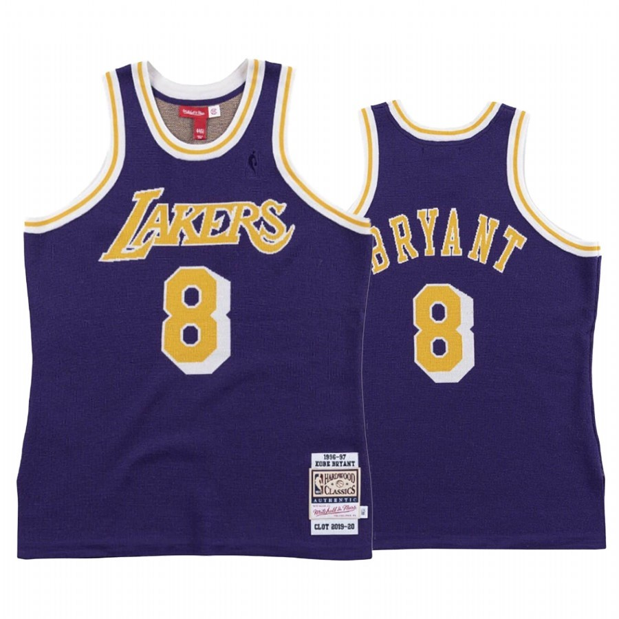 Maillot NBA Los Angeles Lakers NO.8 Kobe Bryant Pourpre Hardwood Classics 1996-97
