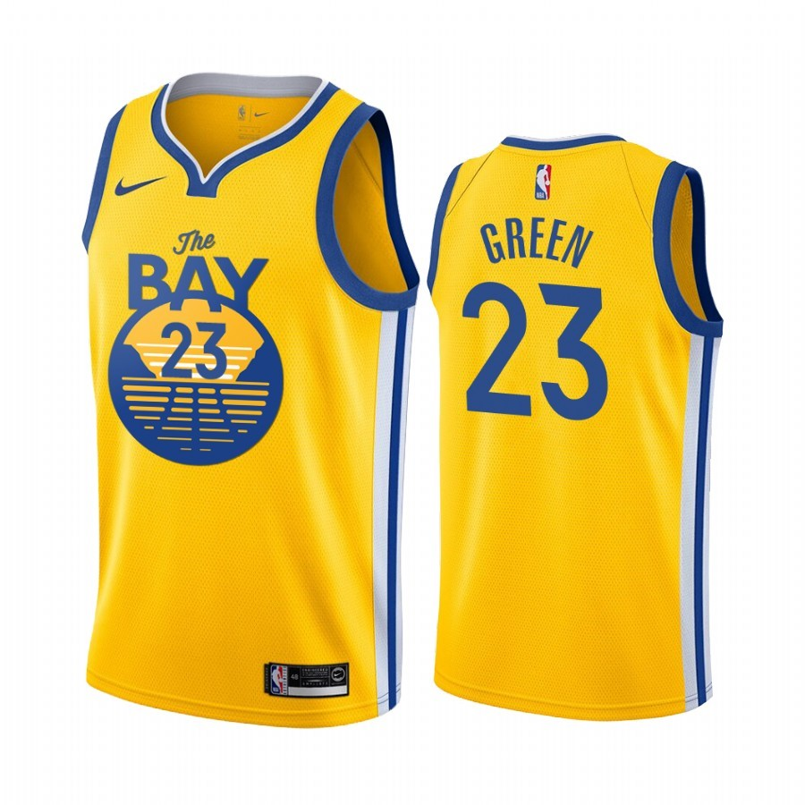 Maillot NBA Nike Golden State Warriors NO.23 Draymond Green Jaune Ville 2019-20