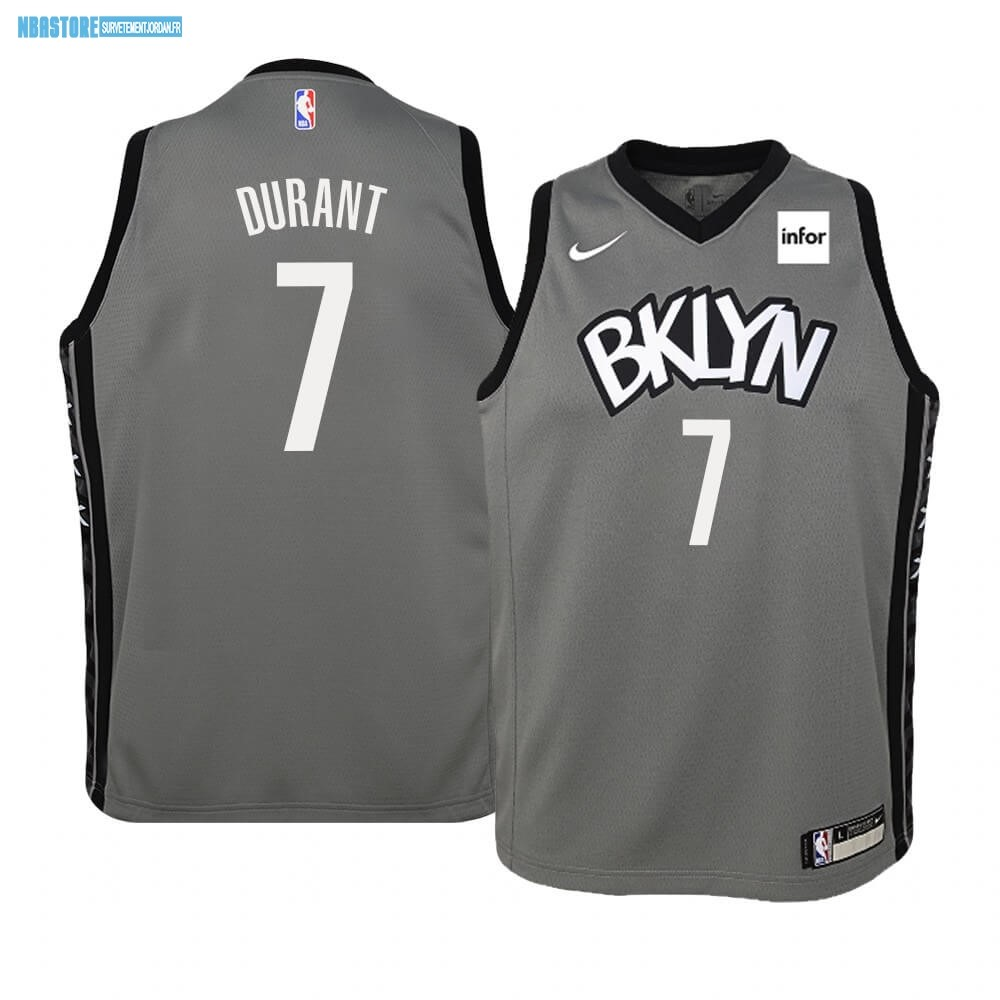Maillot NBA Enfant Brooklyn Nets NO.7 Kevin Durant Gris Statement 2019-20 Qualité 100%
