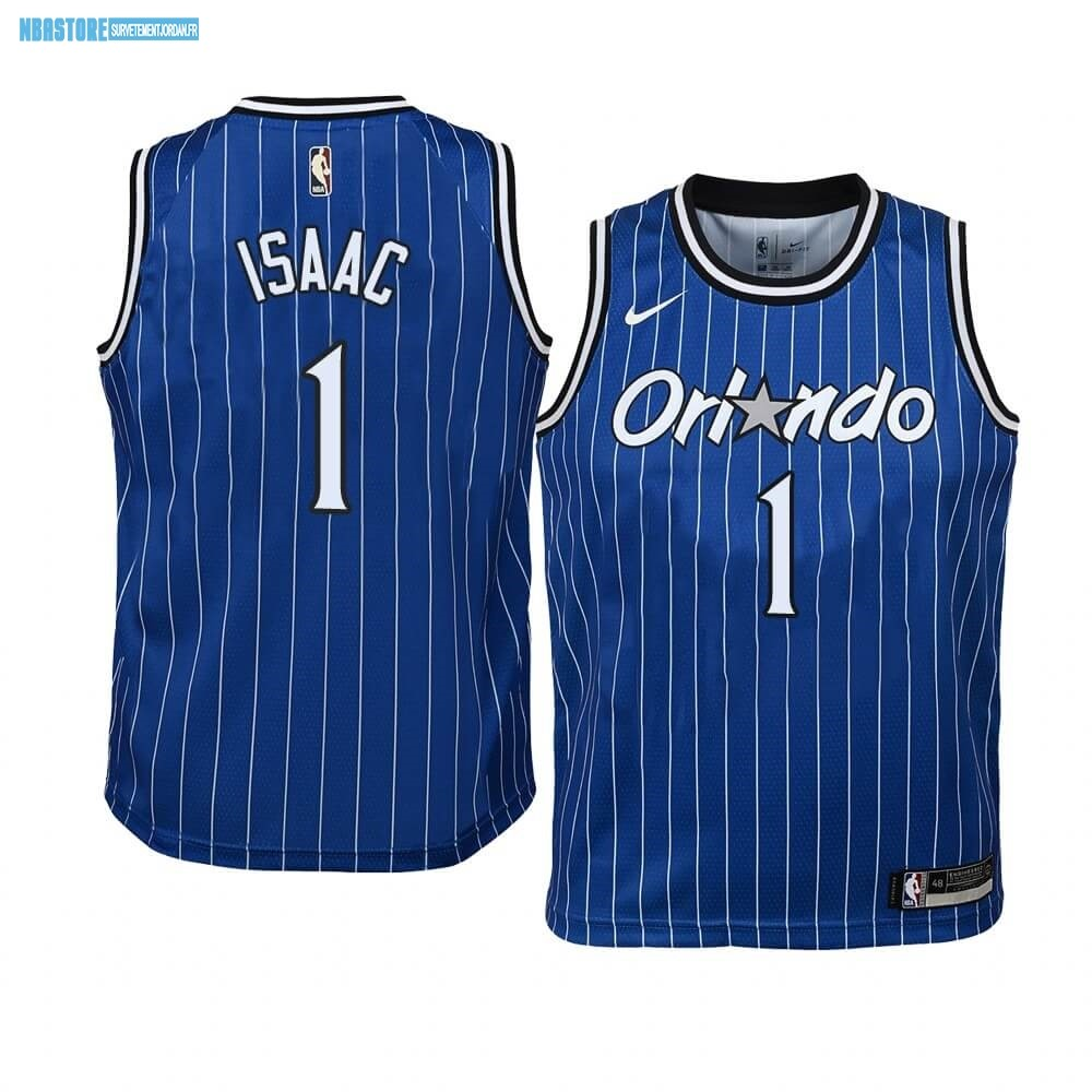 Maillot NBA Enfant Orlando Magic NO.1 Jonathan Isaac Bleu Hardwood Classics Qualité 100%