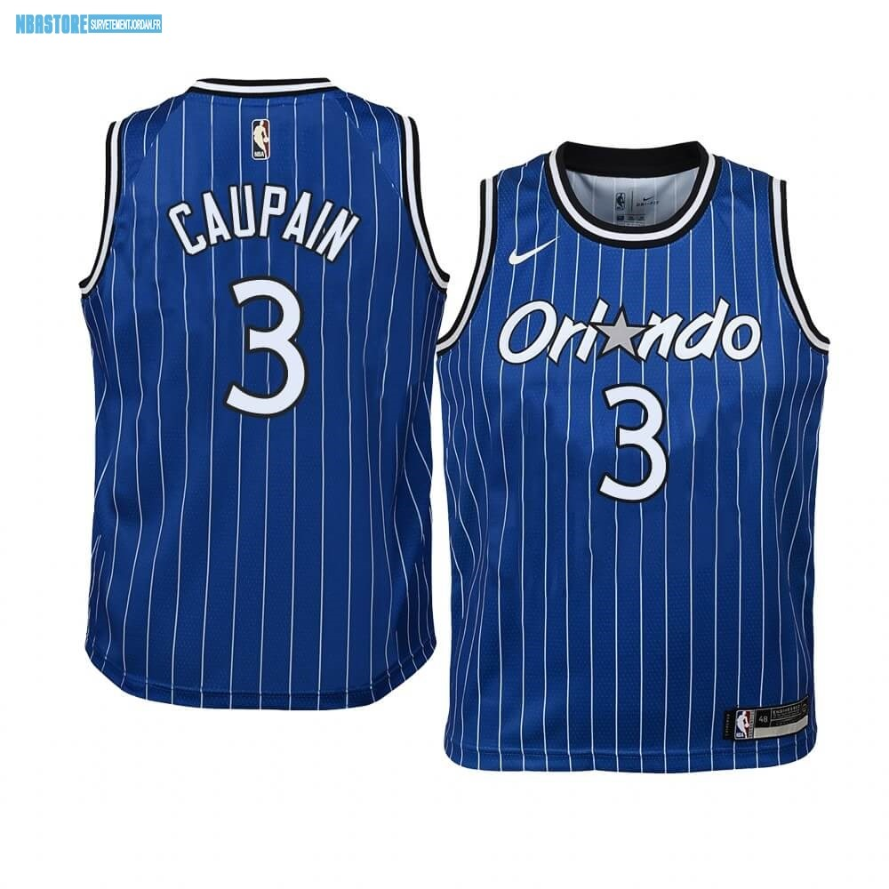 Maillot NBA Enfant Orlando Magic NO.3 Troy Caupain Bleu Hardwood Classics Qualité 100%