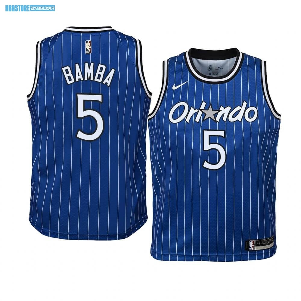 Maillot NBA Enfant Orlando Magic NO.5 Mohamed Bamba Bleu Hardwood Classics Qualité 100%