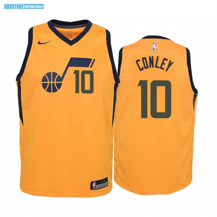 Maillot NBA Enfant Utah Jazz NO.10 Mike Conley Jaune Statement 2019-20 Qualité 100%