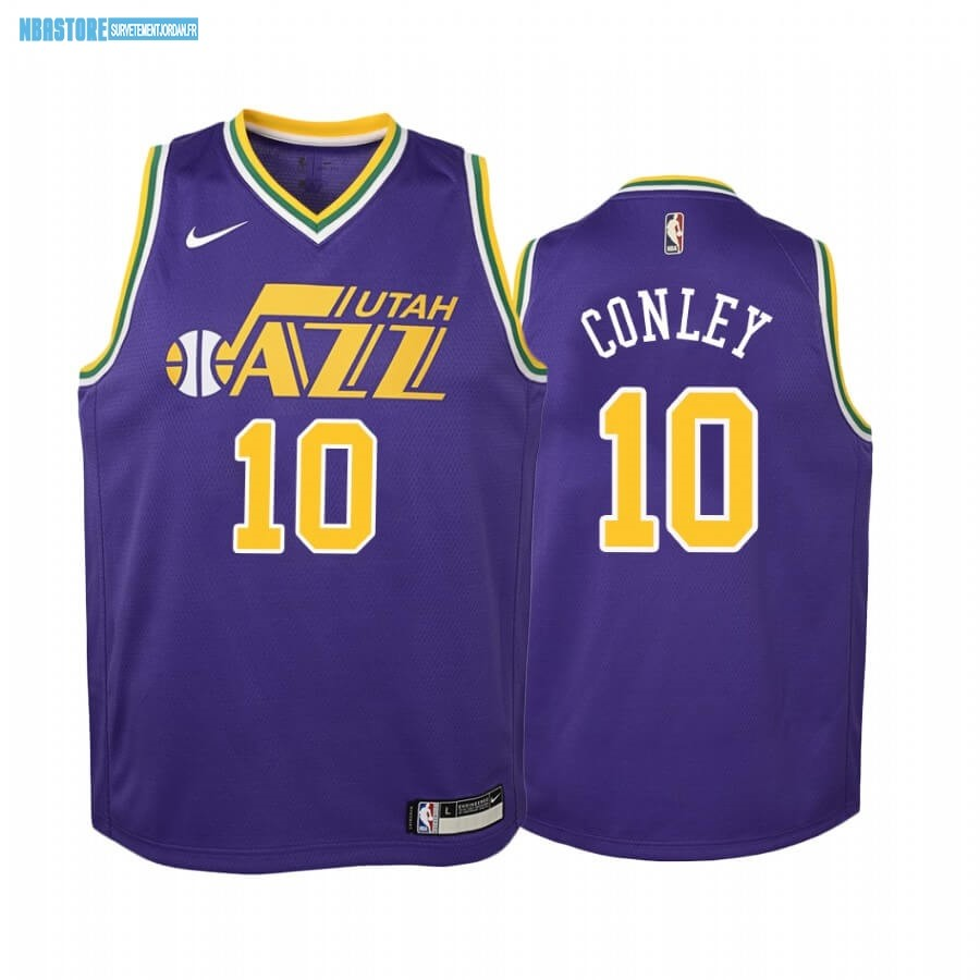 Maillot NBA Enfant Utah Jazz NO.10 Mike Conley Pourpre Hardwood Classics Qualité 100%
