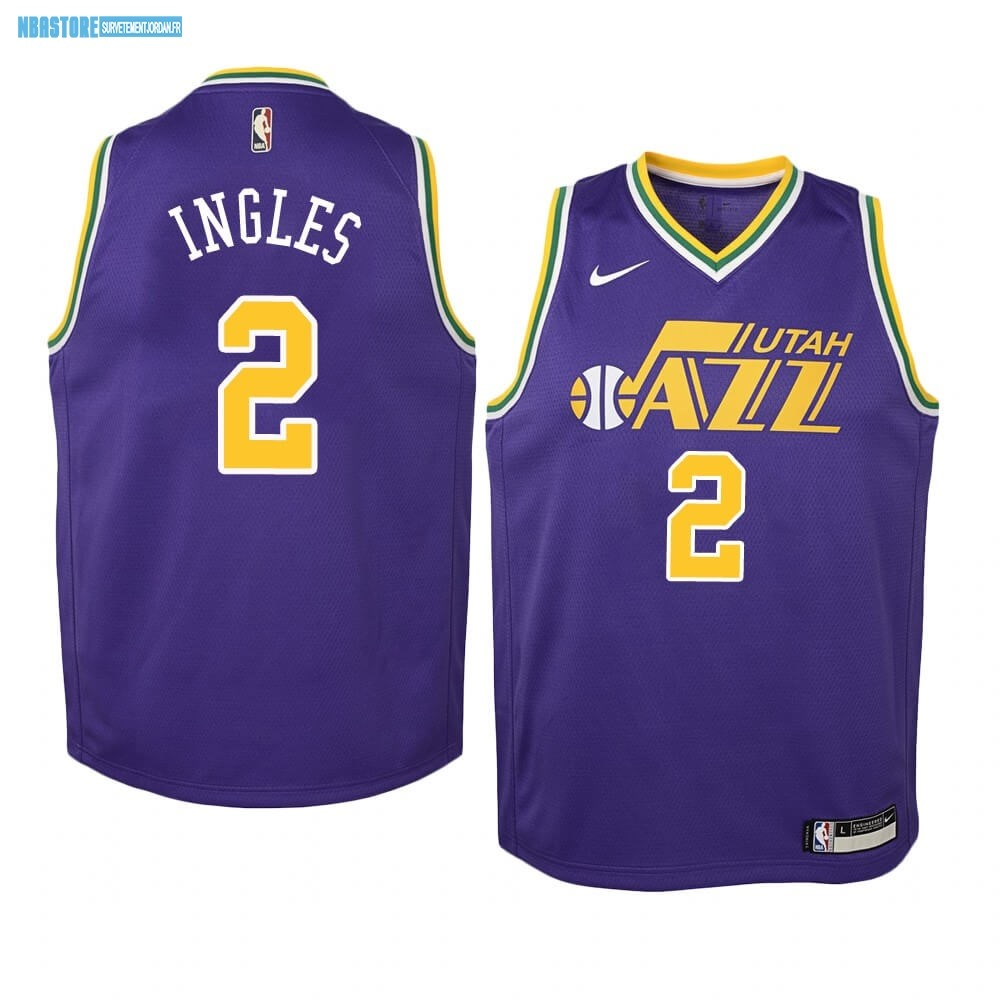 Maillot NBA Enfant Utah Jazz NO.2 Joe Ingles Pourpre Hardwood Classics Qualité 100%