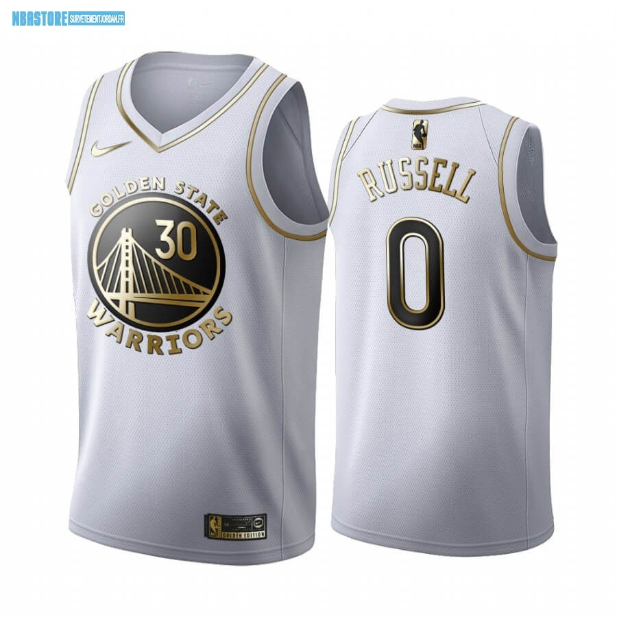 Maillot NBA Nike Golden State Warriors NO.0 D'Angelo Russell Blanc Or 2019-20 Qualité 100%