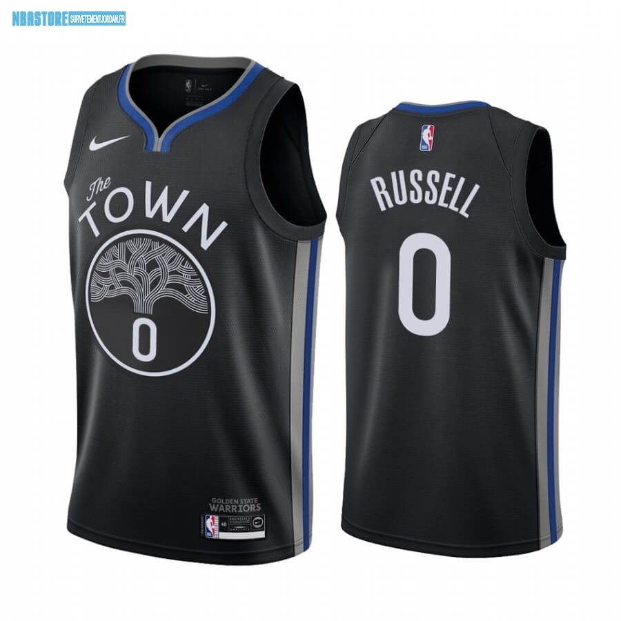 Maillot NBA Nike Golden State Warriors NO.0 D'Angelo Russell Nike Noir Ville 2019-20 Qualité 100%