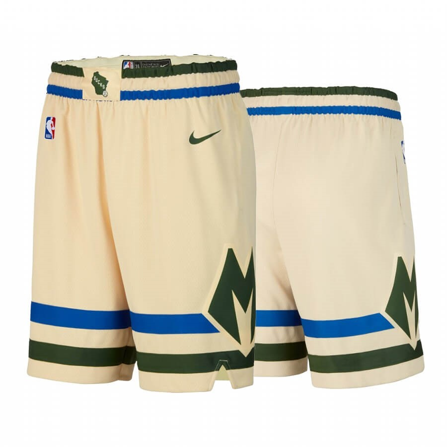 Short Basket Milwaukee Bucks Nike Crème Ville 2019-20 Qualité 100%