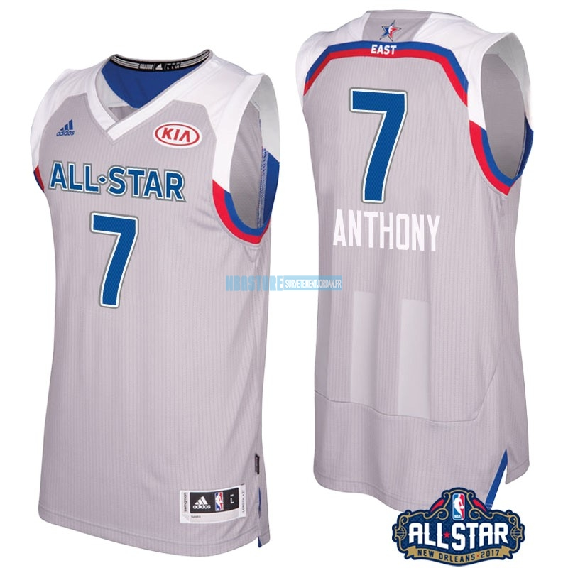 Maillot NBA 2017 All Star NO.7 Carmelo Anthony Gray Qualité 100%
