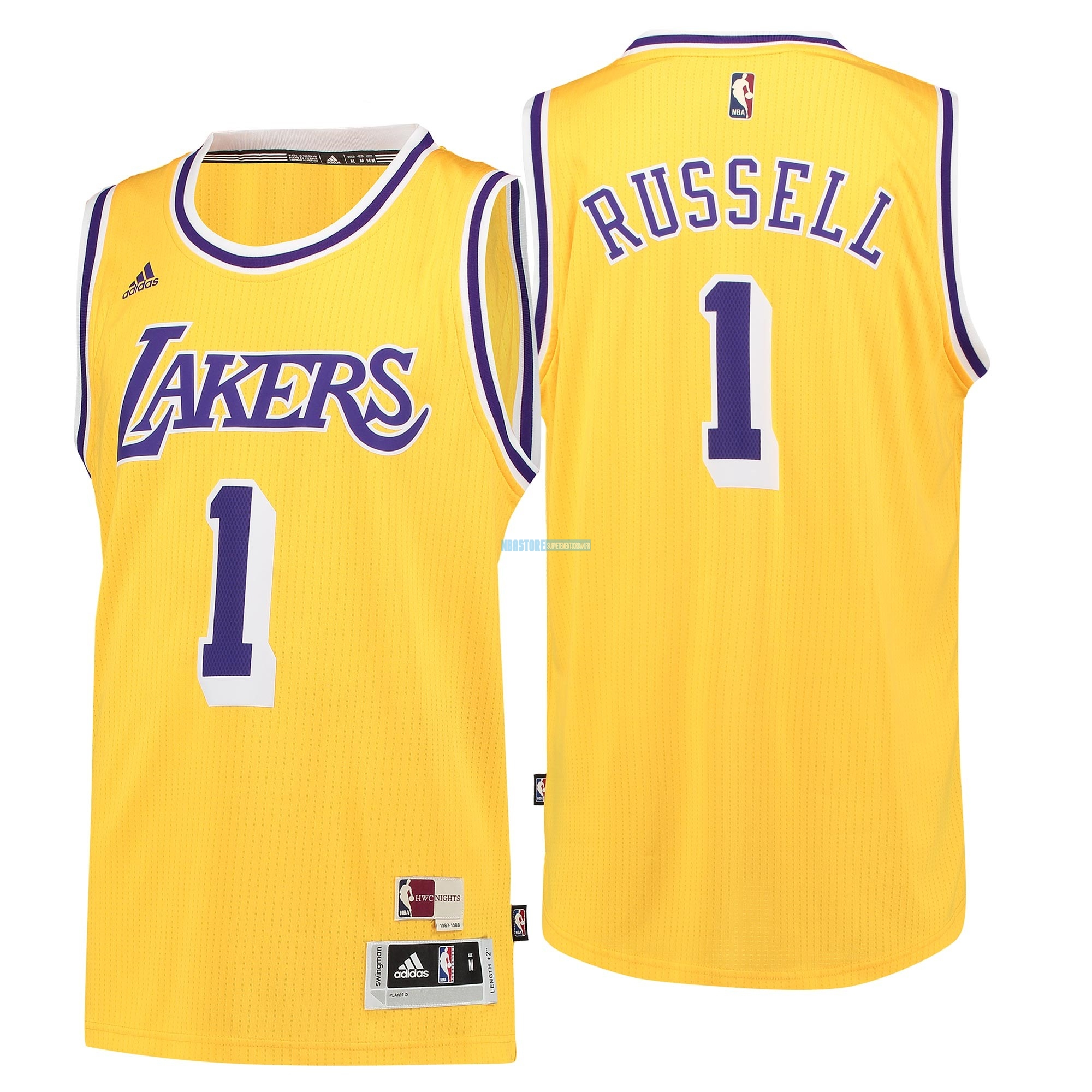 Maillot NBA Los Angeles Lakers NO.1 D'Angelo Russell Retro Bleu Qualité 100%