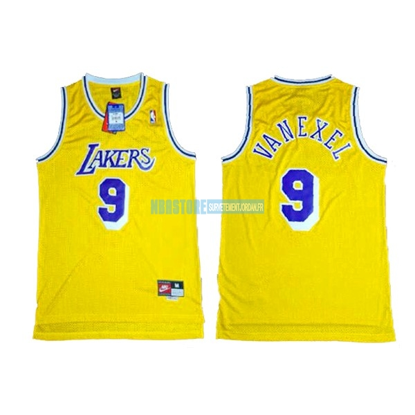 Maillot NBA Los Angeles Lakers NO.9 Nick Van Exel Jaune Qualité 100%
