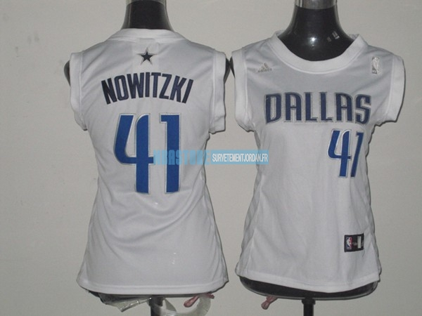 Maillot NBA Femme Dallas Mavericks NO.41 Dirk Nowitzki Blanc Qualité 100%