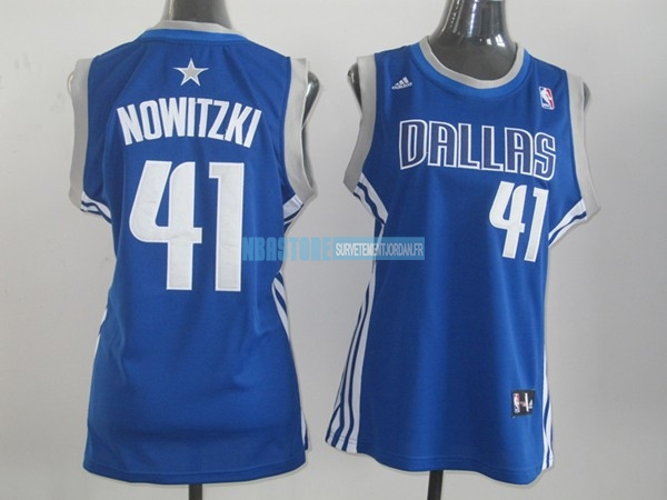 Maillot NBA Femme Dallas Mavericks NO.41 Dirk Nowitzki Bleu Qualité 100%