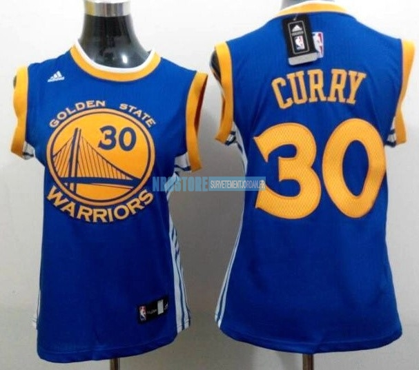 Maillot NBA Femme Golden State Warriors NO.30 Stephen Curry Bleu Jaune Qualité 100%