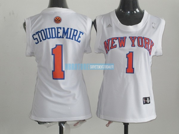 Maillot NBA Femme New York Knicks NO.1 Amar'e Stoudemire Blanc Qualité 100%