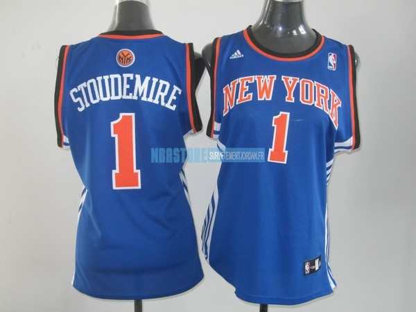 Maillot NBA Femme New York Knicks NO.1 Amar'e Stoudemire Bleu Orange Qualité 100%