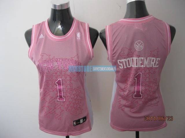Maillot NBA Femme New York Knicks NO.1 Amar'e Stoudemire Rose Qualité 100%