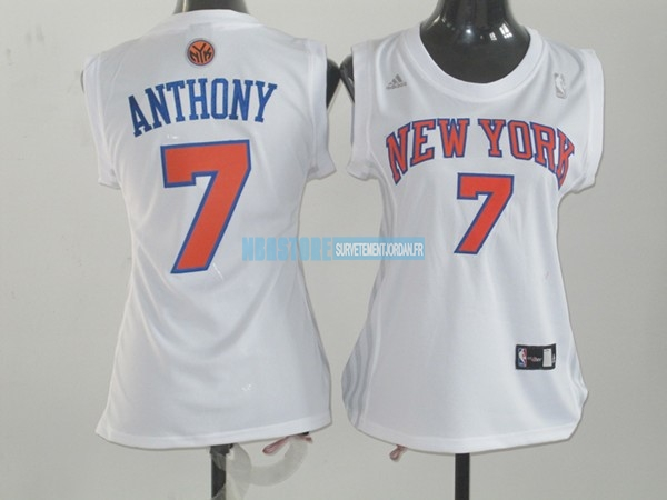 Maillot NBA Femme New York Knicks NO.7 Carmelo Anthony Blanc Orange Qualité 100%
