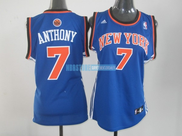 Maillot NBA Femme New York Knicks NO.7 Carmelo Anthony Bleu Orange Qualité 100%