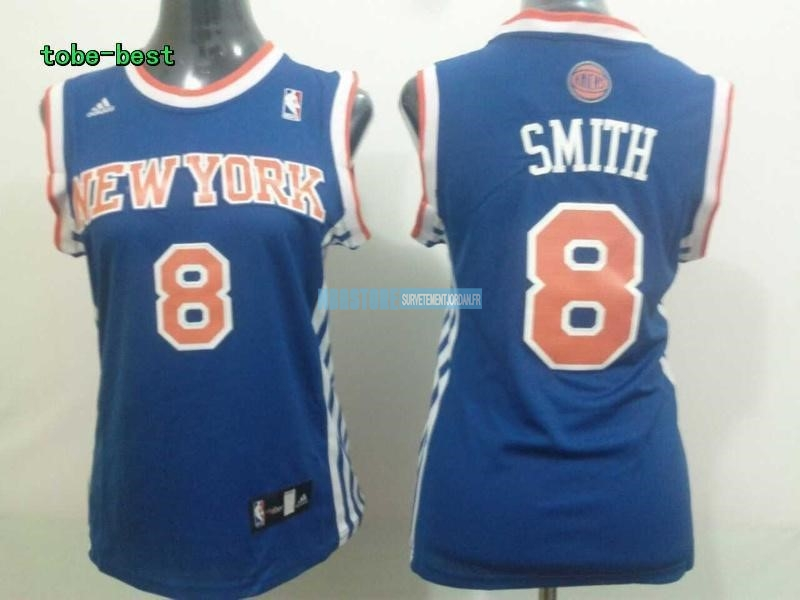 Maillot NBA Femme New York Knicks NO.8 JR.Smith Bleu Qualité 100%