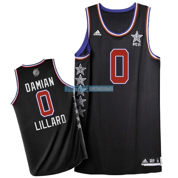 Maillot NBA 2015 All Star NO.0 Damian Lillard Noir Qualité 100%