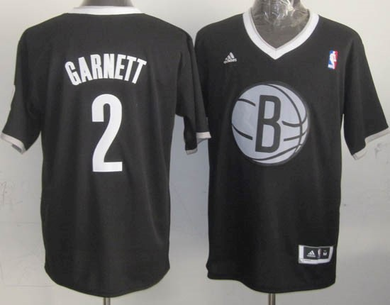 Maillot NBA Brooklyn Nets 2013 Noël NO.2 Garnett Noir Qualité 100%