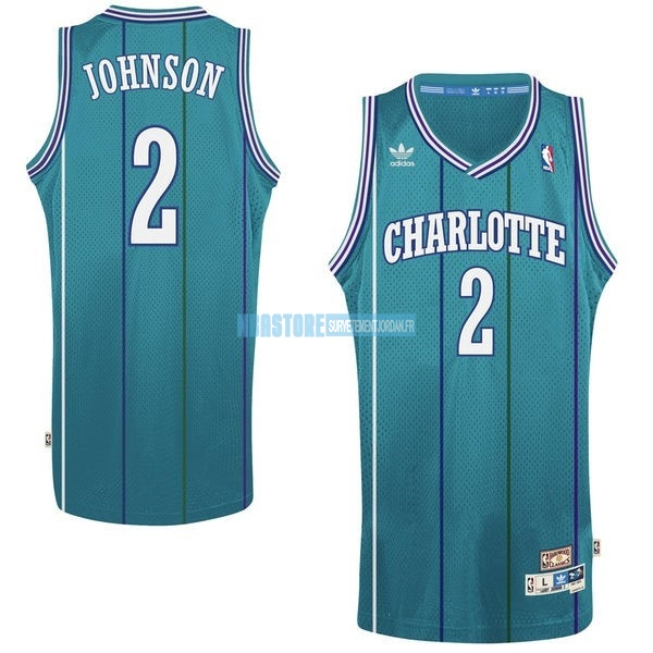 Maillot NBA Charlotte Hornets No.2 Larry Demetric Johnson Vert Qualité 100%