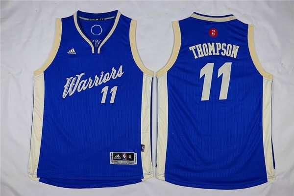 Maillot NBA Enfant 2015 Noël Golden State Warriors NO.11 Klay Thompson Bleu Qualité 100%