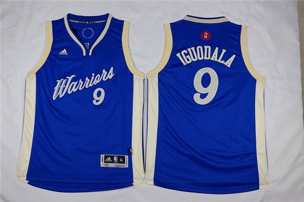 Maillot NBA Enfant 2015 Noël Golden State Warriors NO.9 Andre Iguodala Bleu Qualité 100%