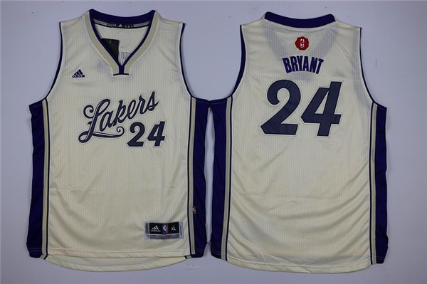 Maillot NBA Enfant 2015 Noël Los Angeles Lakers NO.24 Kobe Bryant Blanc Qualité 100%