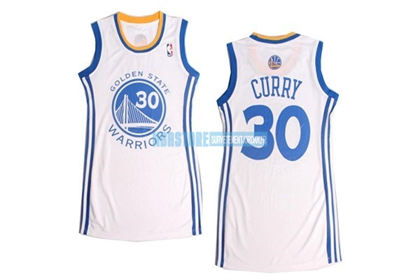 Maillot NBA Femme Golden State Warriors NO.30 Stephen Curry Blanc Qualité 100%