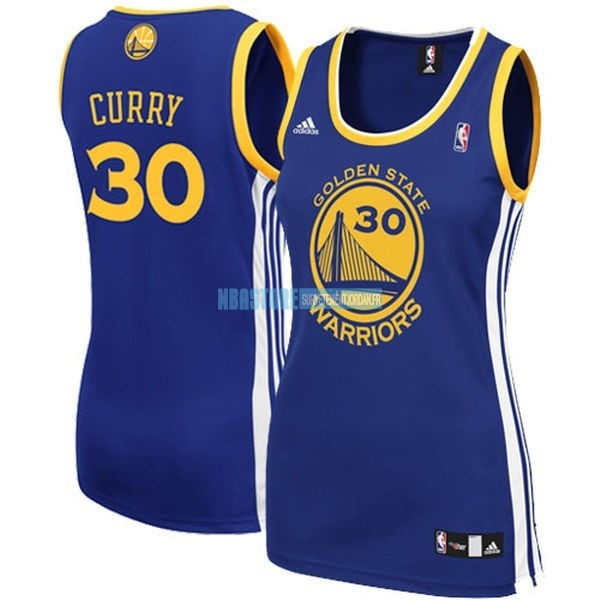 Maillot NBA Femme Golden State Warriors NO.30 Stephen Curry Bleu Qualité 100%