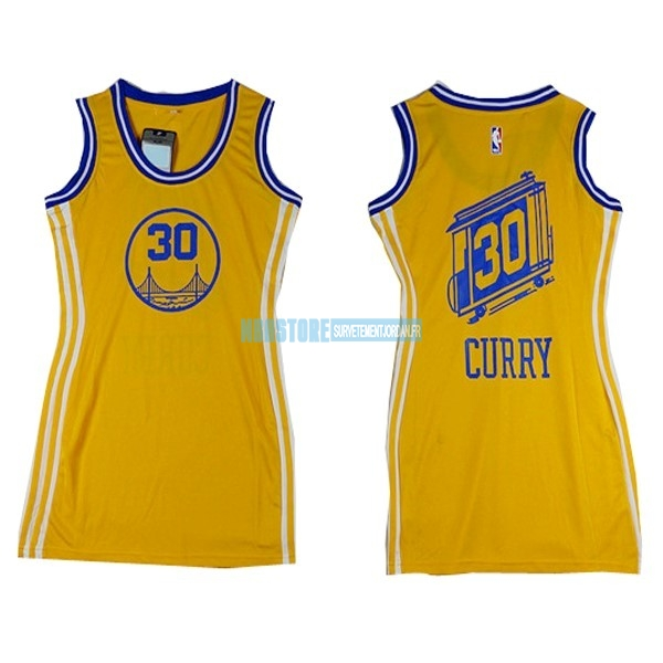 Maillot NBA Femme Golden State Warriors NO.30 Stephen Curry Jaune Qualité 100%