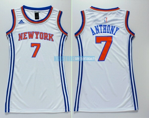 Maillot NBA Femme New York Knicks NO.7 Carmelo Anthony Blanc Qualité 100%