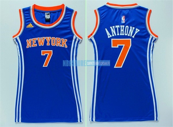Maillot NBA Femme New York Knicks NO.7 Carmelo Anthony Bleu Qualité 100%